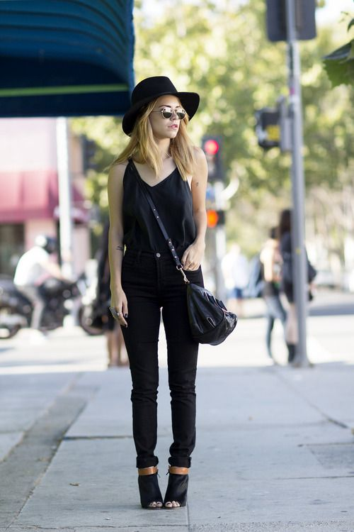 Shop this look for $107:  http://lookastic.com/women/looks/hat-and-tank-and-skinny-jeans-and-sandals-and-crossbody-bag/2392  — Black Hat  — Black Silk Tank  — Black Skinny Jeans  — Black Suede Sandals  — Black Leather Crossbody Bag