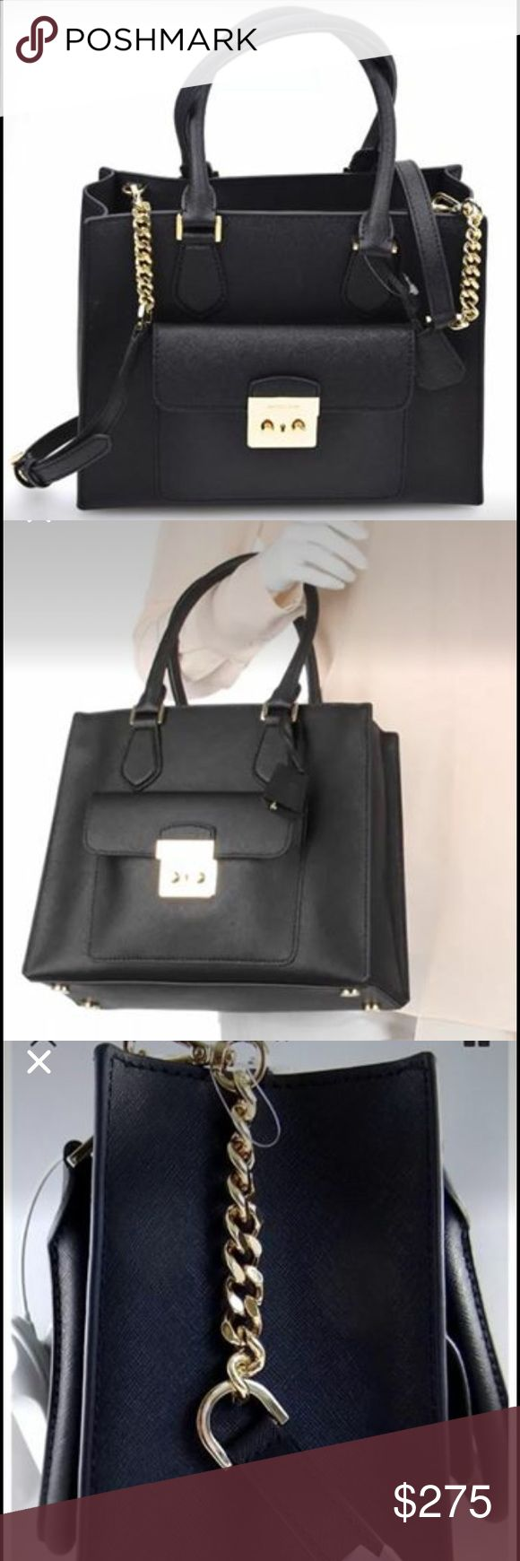 "Michael Kors Medium East/West Black Bag NWT Michael Kors Medium East West Brid Tote in all leather. Color Black  Retails for over 380+  Approximate measurements :  Medium sized bag; 12""W x 9-1/2""H x 4-3/4""D  Interior features lining, 1 zip pocket, 3 open pockets, 1 cellphone pocket and 1 clip  6""L double handles; 21-1/4""L to 23-3/4""L adjustable and detachable chain-detail strap  Zip closure  Exterior features gold-tone hardware, 1 pushlock gusset front pocket and charm  Bag converts from…"
