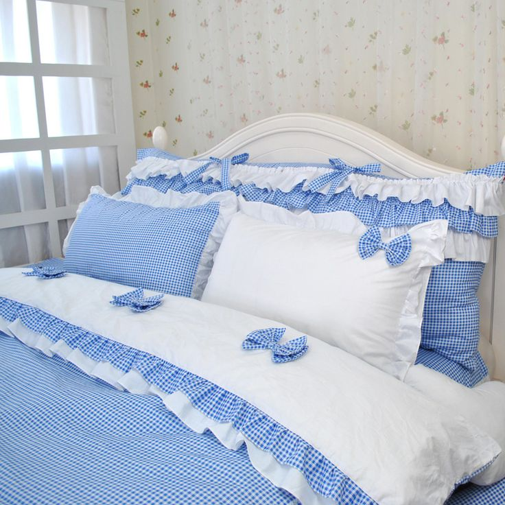 Free Shipping Cool summer princess blue and white plain bow bedding sets,king US…