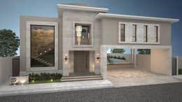 Fachada principal / Poniente.: Casas de estilo moderno por Nova Arquitectura