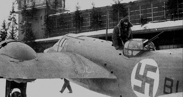 """Finnish bomber, the Bristol """"Blenheim"""" Mk.IV, returning from a mission, 8 March 1940."""