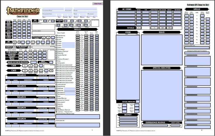 D D 5e Character Sheet Double Sided Printable: Pathfinder Character Sheet. You Are Welcome