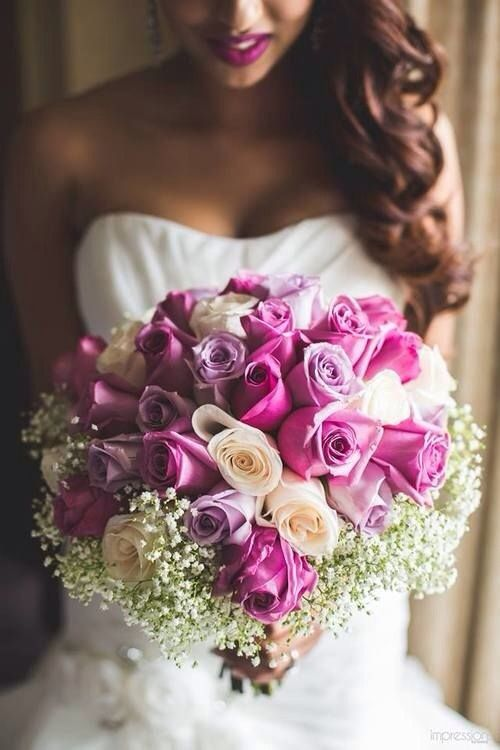 pink  blush roses with baby's breath halo......want smaller bouqet.....light purple and white roses with sprigs of limonium-to match Doug