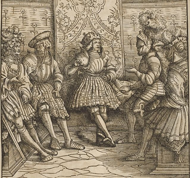 1514-16.Der Weisskunig 66 Detail Knights and a King. Author-Maximilian I, Hans Burgkmair.