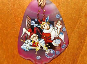 Russian-hand-painted-NATURAL-STONE-pendant-Harlequins-Blowing-Bubbles-signed-ART