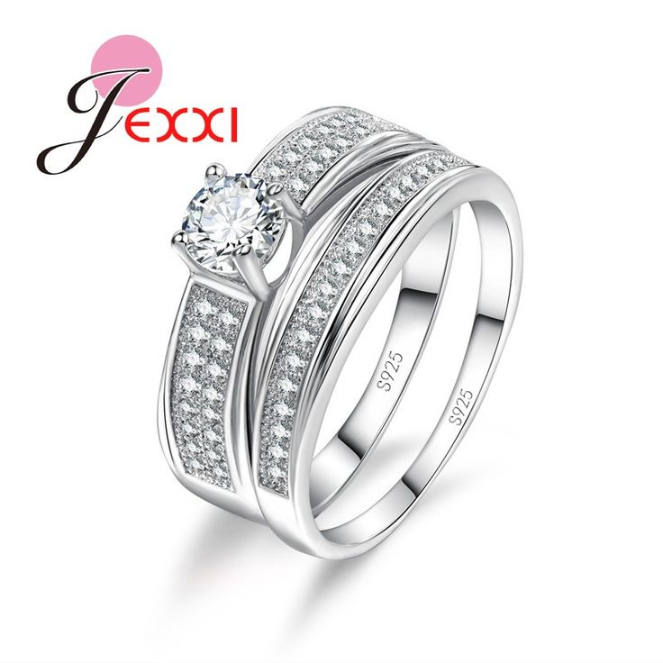 JEXXI Elegant Female Wedding Accessories Finger Jewelry 925 Sterling Silver Ring Set 2 PCS for Women/Girls Anillo Bijoux
