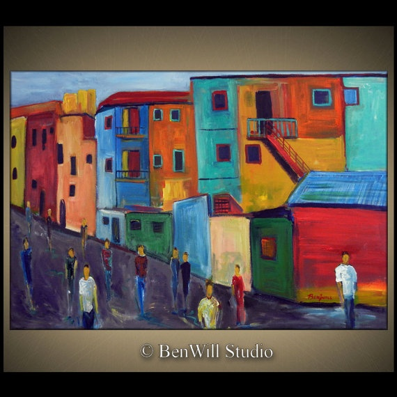 Buenos Aires Large Colorful Painting Original Modern Art