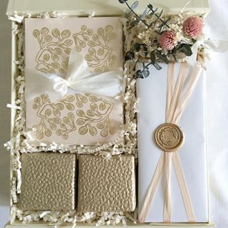 Bridal Gift Box. Bridesmaid Gifts. Curated Gift Boxes by Loved and Found. Wax seals. Blush and Gold.