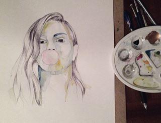 Work in progress ✒️ #ballpointpen #watercolor #wip #workinprogress #illustration #illustrasjon #akvarell #drawing #kulepenn #tegning #poster #plakat #blendbyeli #bubblegum