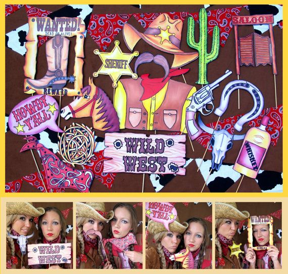 Cowboy/Cowgirl Western  photo booth props perfect for your