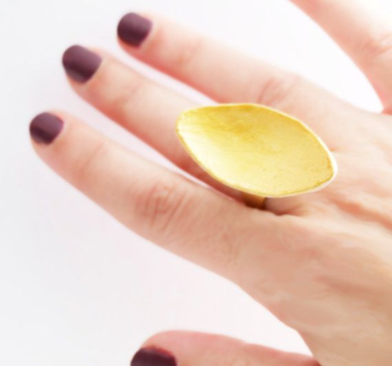 Gold and White Polymer Clay Ring Statement Ring Leaf by bibigo