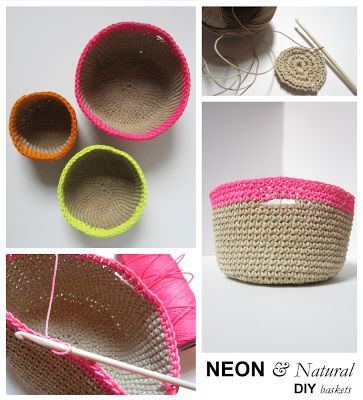 Crochet Neon and Natural Baskets - Tutorial ❥ 4U // hf