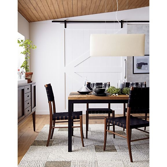 Oslo Side Chair Parsons Dining Table With Teak Top Finley Pendant Lamp Keegan Rug I Crate And Barrel