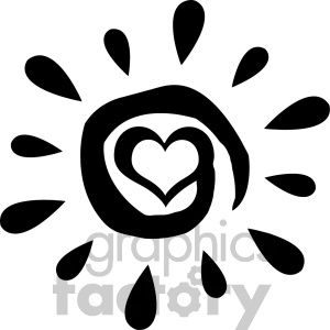 black abstract sun silhouette with heart simple design vector illustration isolated on white background