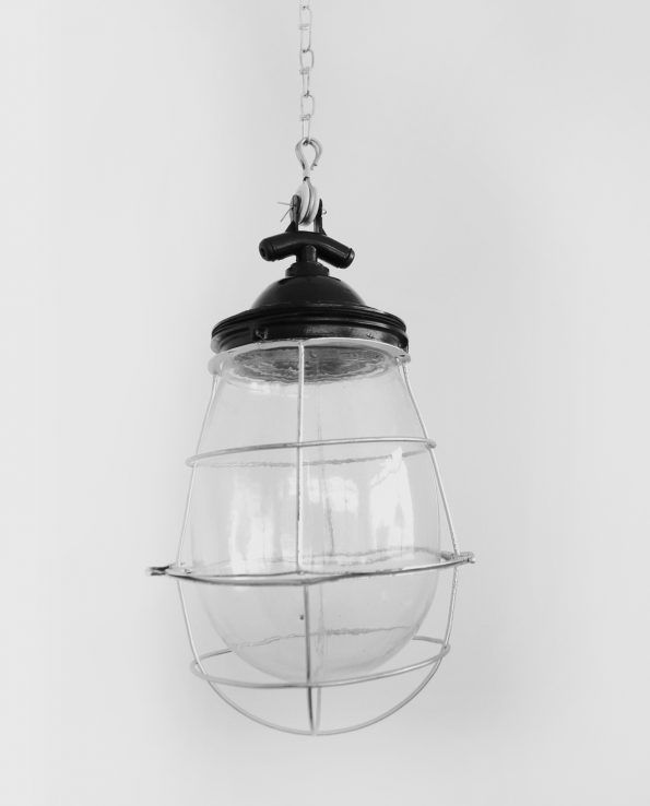Caged Glass Drop (Black) An oversized glass bulb made from a rough mould gives this light a great vintage feel. It comes with a steel protective cage to add an authentic industrial look.