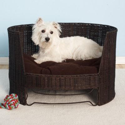 wicker dog bed  is a hit with this cute fella! #white #dog #dogbed