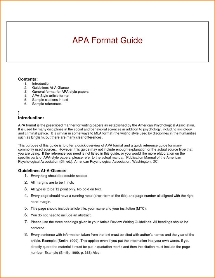 APA Style: Citing Your Sources