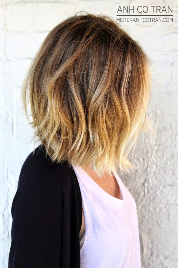 I would definitely like to have my hair done just like this, a sombré bob.