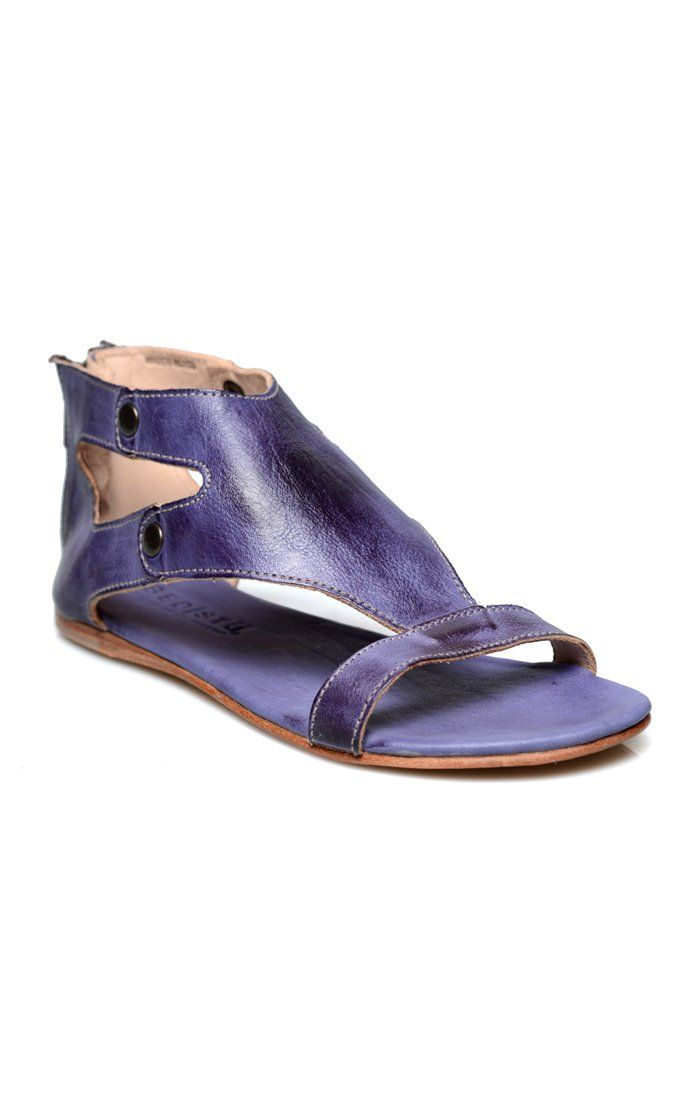 bed stu Women's Soto Flat Sandal, Purple Rustic, 8 M US. Chrome free, vegetable tanned leather upper. Handmade. Ykk back zipper. Made in mexico. Hand stitched leather outsole.