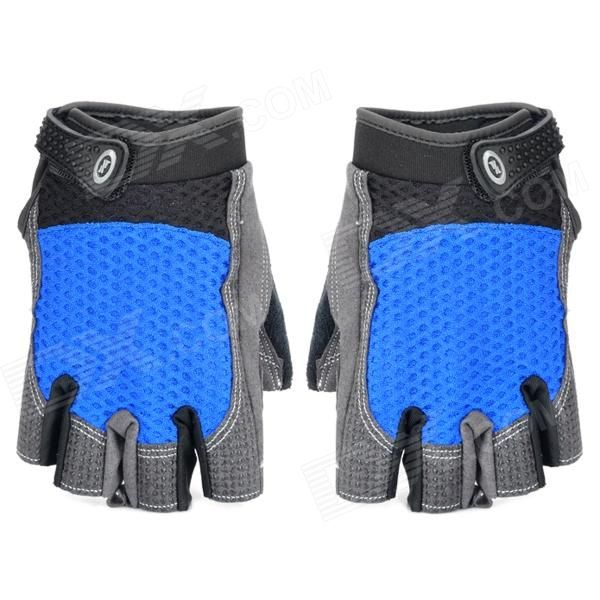 Brand: XLY; Model: 206; Quantity: 2; Color: Black + Blue; Material: Nylon + PU + polyester; Size: M; Gender: Unisex; Best use: Cycling; Other Features: Girth: 18cm; With Velcro on the wrist, making cycling better; Pad on wrist protects ache of palm from long riding and also protects palm from hurt when falling down; Breathing mesh on the back absorbs sweat and moisture well; Packing List: 1 x Pair of gloves; http://j.mp/VFZDwu
