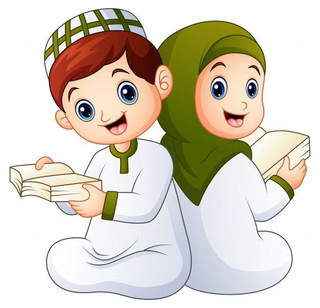 Happy Muslim Kid Holding Quran Muslim Kids Ramadan Kids Islamic Cartoon