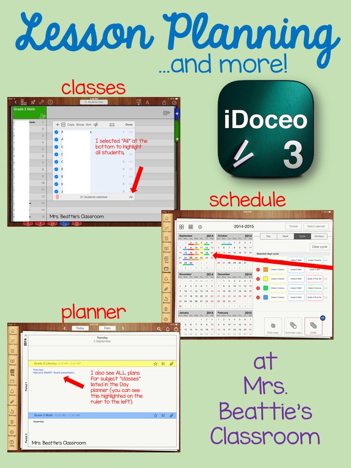 iDoceo lesson planner demystified at Mrs. Beattie's Classroom! Learn how to move beyond just using the gradebook! Add classes and complete lesson planning as well!
