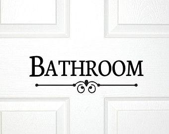 Bathroom Door or Wall Decal - Decorative Bath Room Sign Powder Room Bath Room Guest Shower Decor Wall Art Restroom Decoration Door Decal