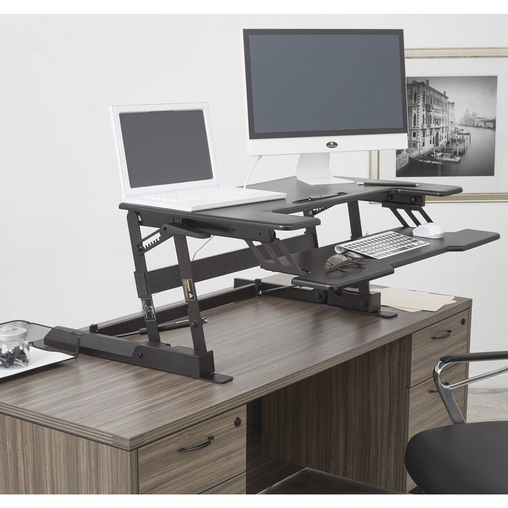 Office Star Products 10-inch Height Adjustable Multi-position Desk Riser #DR3622-BK