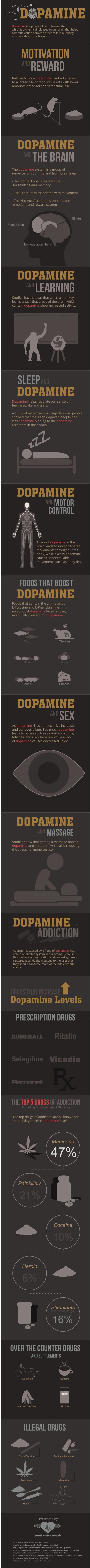Dopamine is a chemical that is released in our brains in times of motivation, excitement, and danger. It is a neurotransmitter that helps the cells in our body communicate with each other. We can also experience a dopamine release when we have sex, take drugs, and eat certain foods. In this infographic, learn 12 facts about this natural drug in your brain you may have not known.