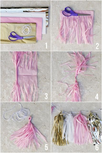 Tissue Paper Garland. Can be used in lime green to make it look like a grass skirt to tie around tables.