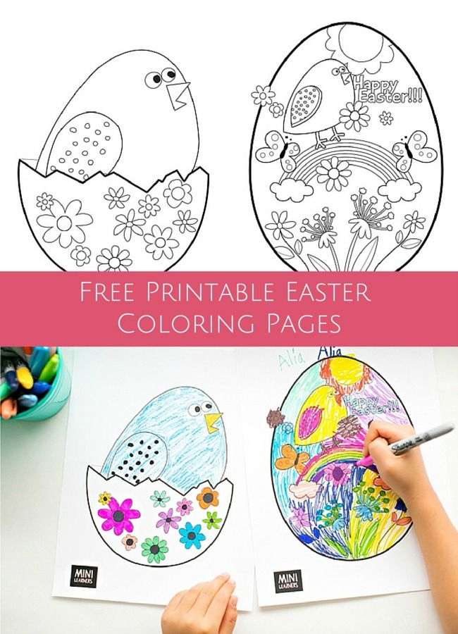 Cute free printable coloring pages to celebrate Easter and spring with the kids.