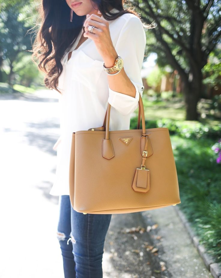 TUNIC: Lush  ($27, comes in 4 other colors) | DENIM: AG  ( similar under $100 here .. ) | BAG: Prada  (love ...