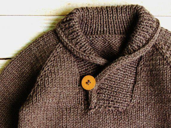 Niños ropa suéter cuello de punto marrón niños chal mano