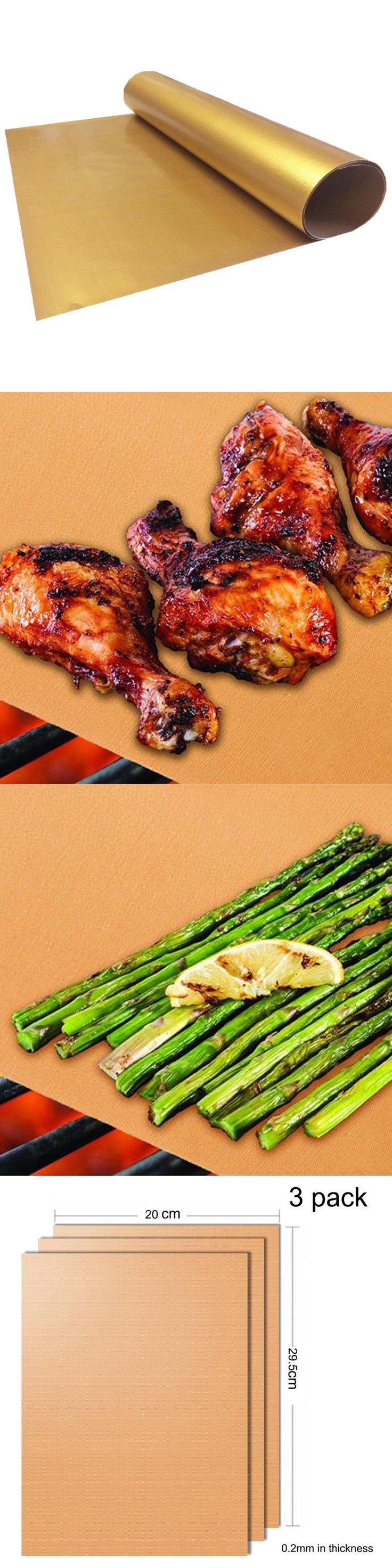 3Pcs Gold Resuable Teflon BBQ Mat Baking Grill Mat Heat-resistant Baking Mat Non-stick BBQ Liner Teflon Baking Sheet