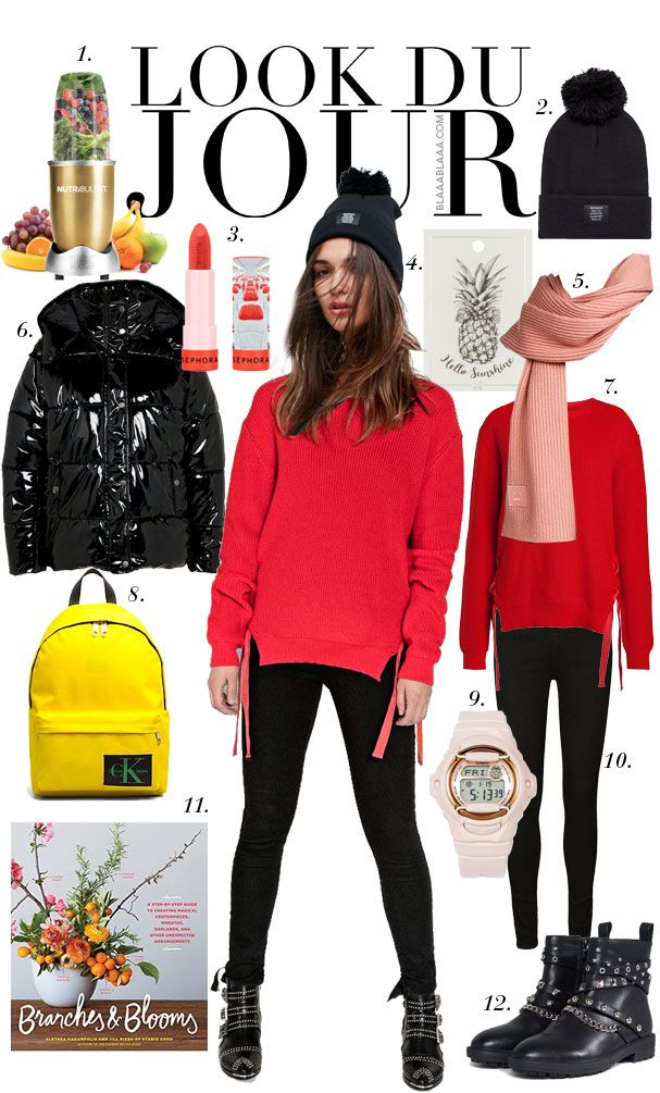 Look Du Jour: Vitamin Meh! Red sweater+black skinny jeans+black studded ankle boots+black quilted jacket+black pom beanie+pink scarf+yellow backpack. Winter Casual Outfit 2018