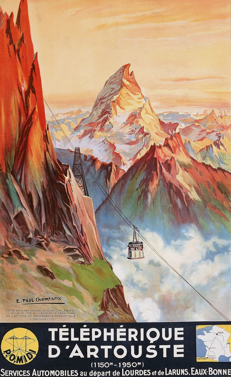 A 1937 poster depicting a summertime view of the Artouste ski area, with the towering Pic du Midi d'Ossau in the background, in the French Pyrenees. Illustration by E. Paul Champseix.