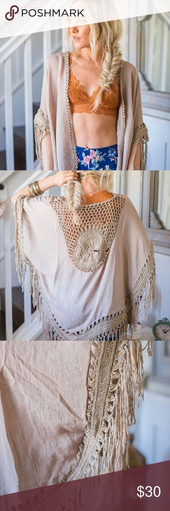 NEW❗️Mocha Boho Kimono. Three Bird Nest ❗️LIMITED SUPPLY AT THIS AMAZING PRICE Super Boho and fun piece! Love this one!!! Goes with EVERYTHING and can be dressed up with a maxi dress or skirt OR dresses down with cute shorts and sandals, swimsuit etc!! Three Bird Nest Sweaters Shrugs & Ponchos