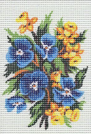 BLUE PANSIES & DAFFODILS  SMALL NEEDLEPOINT CANVAS