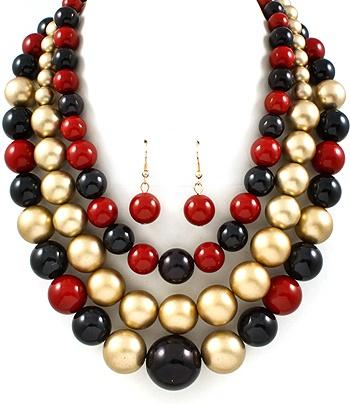 Multi-Strand Beaded Necklace & Earring Set