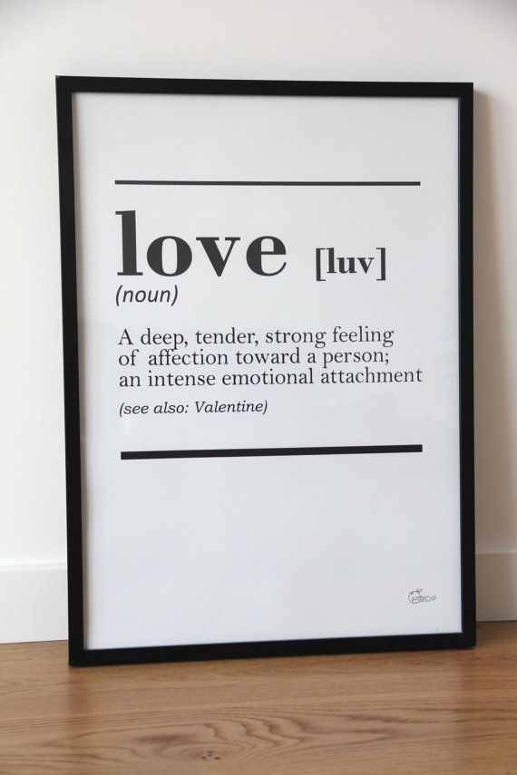 printable DICTIONARY LOVE interior poster - minimal scandinavian design, 50x70 cm /20x28 inches