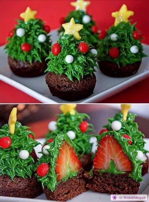 Kerstboom cakejes