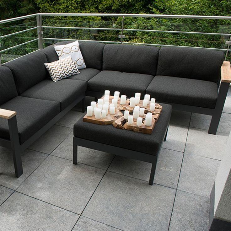 4 Seasons Outdoor Orion loungeset 3-delig - teak-zwart Teakhout