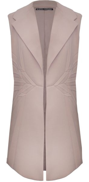 SHOP NOW - Osirus Gilet - SS16 Georgia Hardinge, A beautiful pleated gilet crafted from a soft textured crepe in a dusky pink.