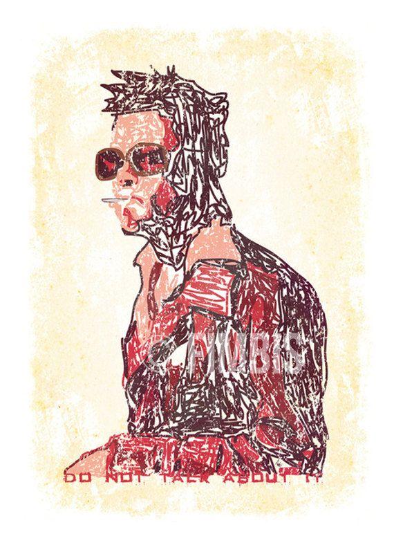 Fight Club print  Brad Pitt  Tyler Durden Portrait by Fimbis  #fimbis #etsy #fightclub #bradpitt #wallart #style #styleblog #fashion #fashionblogger #fashionblog #styleblogger #film #designer #maroon #typography #movieposter #tylerdurden #donttalkaboutfightclub #illustration #interiors #fblogger #interiordesign #homedecor #homestyle #artprint