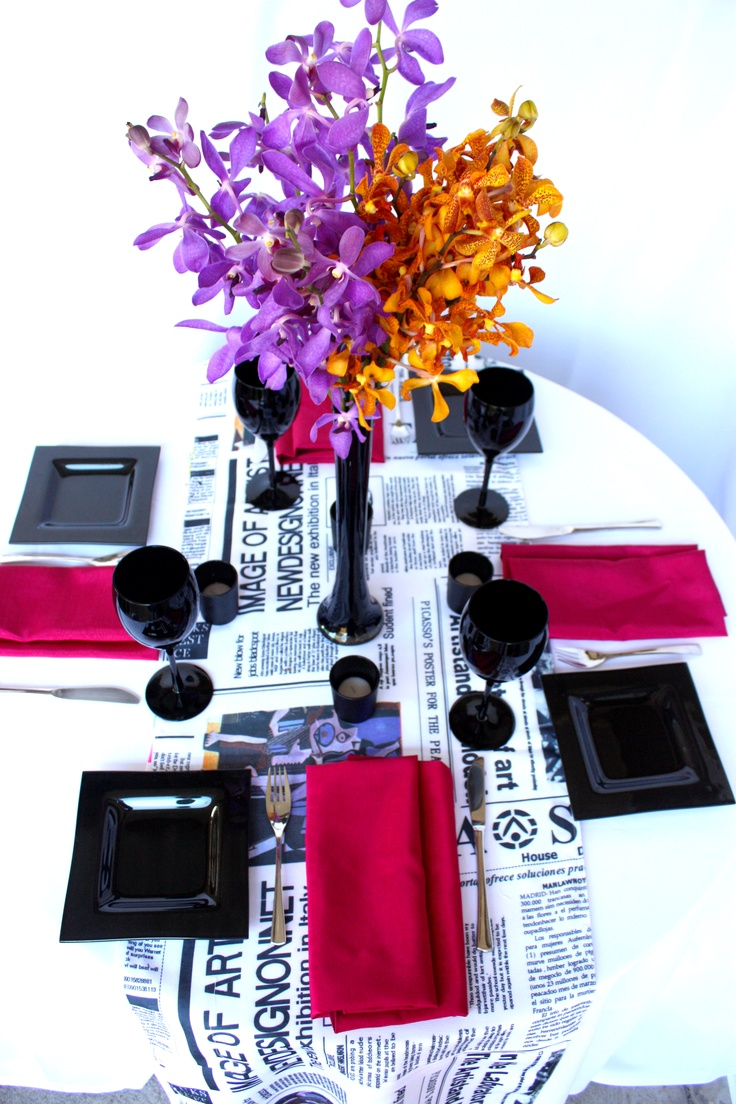 Linen, Vases and Floral Design - Decor It Events. Vogue Style Linen with Raspberry napkins in Black Gloss Fish Bowl #centerpiece #tablelinen #styling #newspaper #linen #blackandwhite #weddings #events #wedding #linenhire #linen #melbourne #melbourneevents #decorations #inspiration #tablelinen #decoritevents (28)