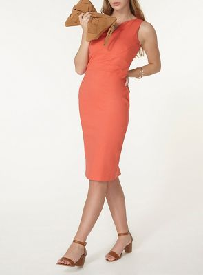 Dorothy Perkins Coral v panel pencil dress | Debenhams