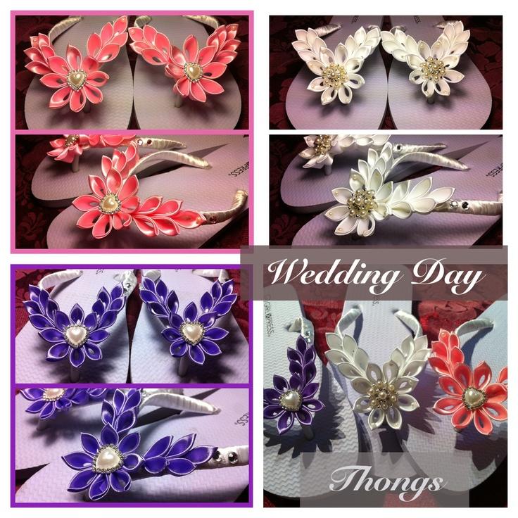 Wedding day kanzashi flower thongs flip flops.