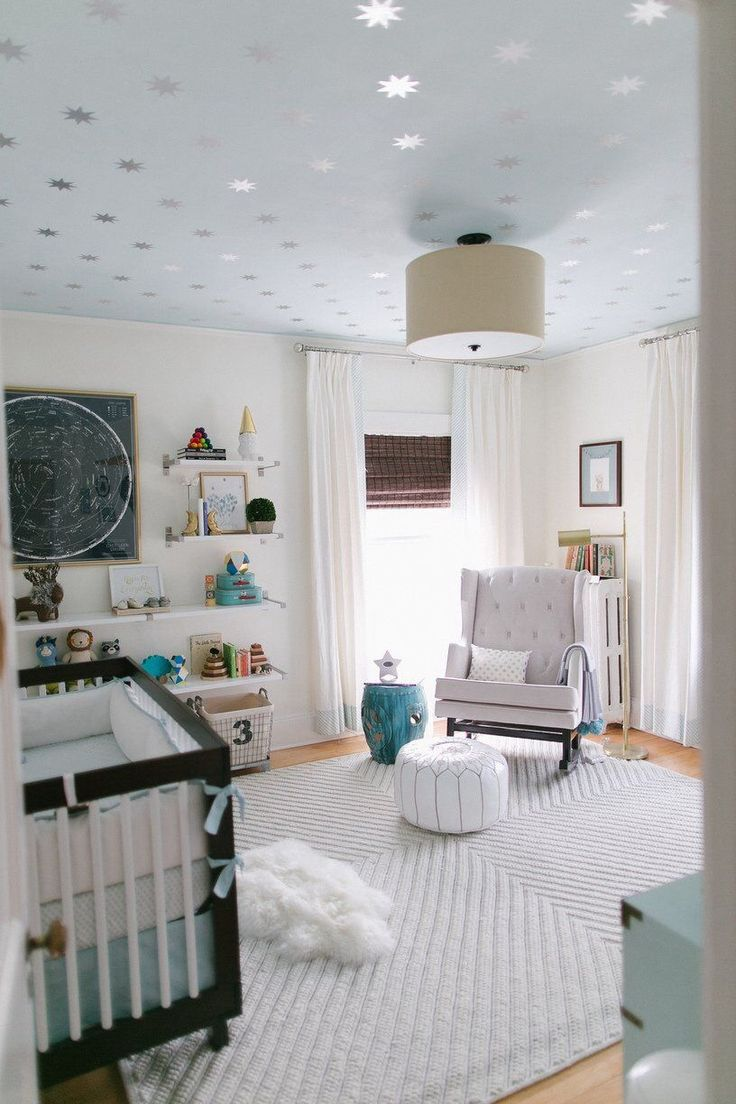 Baby boy room decor pinterest - Silver Stars On Ceiling Chevron Knot Rug From West Elm Via Reed S Soft Starry Space Nursery Tour Anderson Locicero Therapy Family