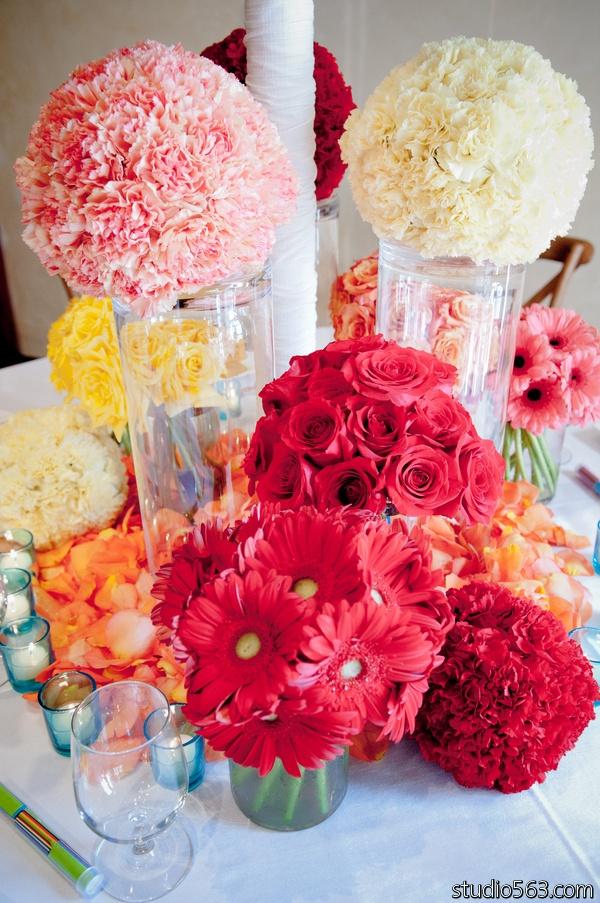 Pink, white, red, yellow, orange flowers.  Pomander balls @bouquets of Austin