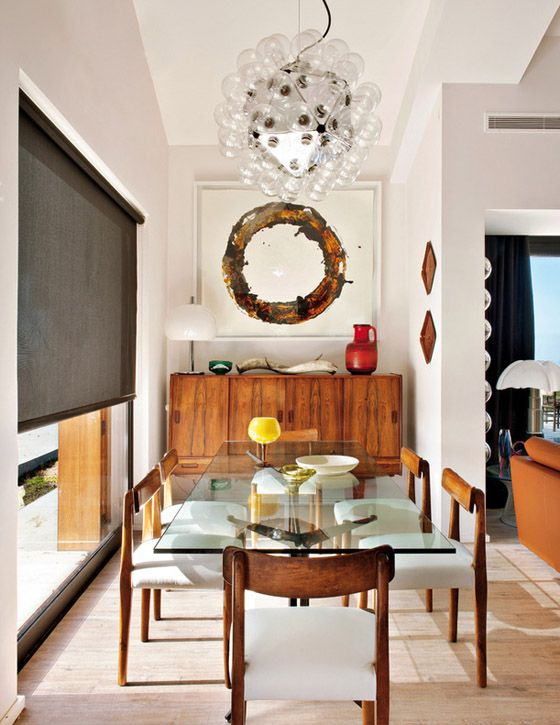 Portugal mod summer home, Nuno Benito, dining room, mid century modern, teak console, bubble chandelier